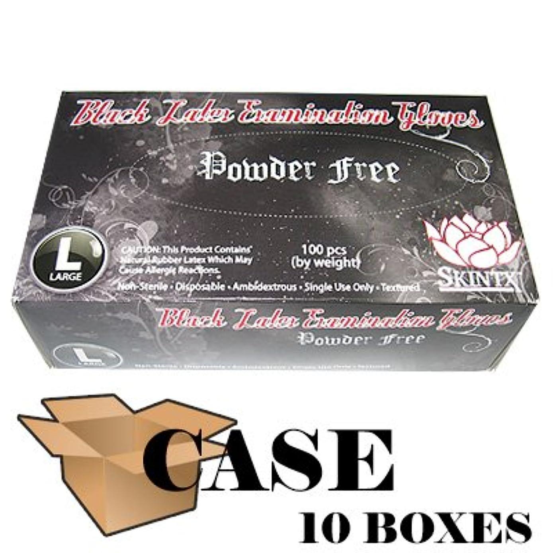 Skintx - Black Latex Powder Free Examination Gloves - Case - Medium