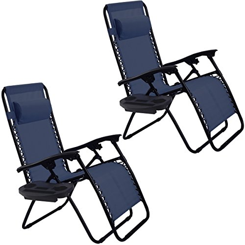 2PC Zero Gravity Chairs Lounge Patio Folding Recliner Outdoor Yard Beach with Cup Holder(Blue)