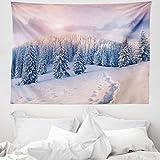 ABAKUHAUS Montagna Tappeto da Parete e Copriletto, Idilliaco Winter Morning, più Tecnologia Moderna Digitale, 150 x 110 cm, Pallido Rosa Bianco