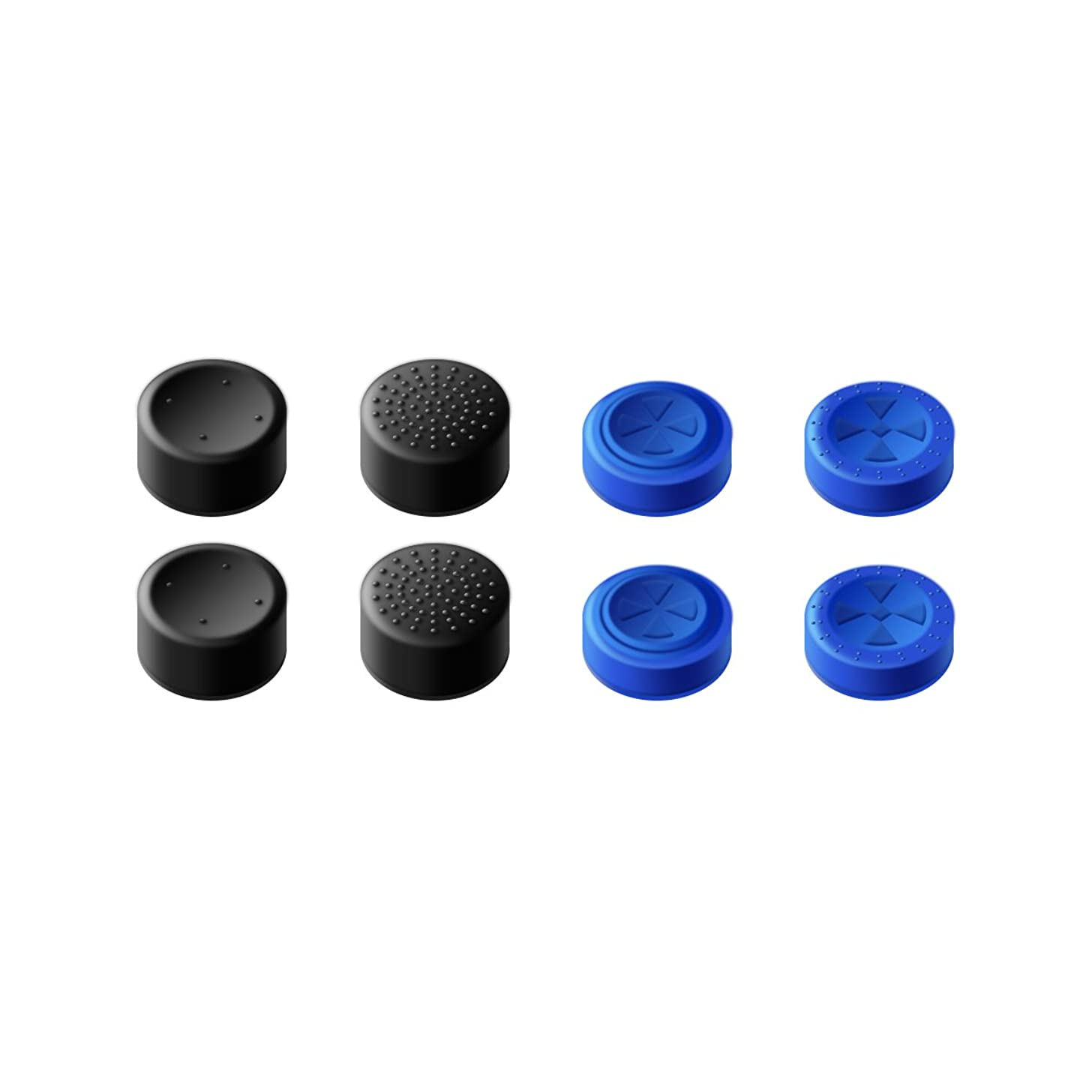 GameSir PS4 Controller Thumb Grips, Analog Stick Covers Skins for PS4/Slim/Pro Controller, Best Caps for PS4 Gaming Gamepad - Blue & Black Set (4 Pairs Total)
