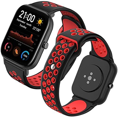 Th-some Correa para Amazfit GTS Smartwatch Reloj de Pulsera Compatible con Amazfit GTS/Amazfit Bip/Amazfit GTR 42mm Band Silicona(Negro y rojo)