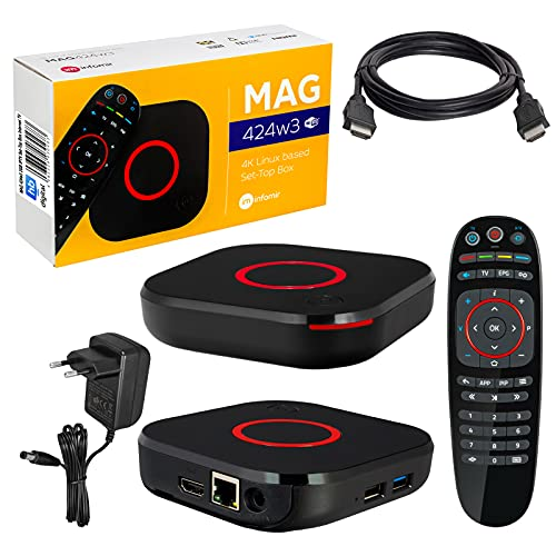 MAG 424w3 - Reproductor multimedia y receptor IP (2 GB, 4 K, UHD 60 FPS, HDMI 2.0, HEVC H.256, ARM Cortex-A53, cable HDMI)
