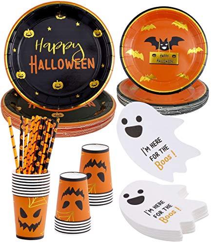 Halloween Party Supplies – Serves 16–Includes Halloween Plates Halloween Cups Halloween Napkins Paper Straws for Halloween Birthday Decorations Kids Pumpkin Plates Halloween dinnerware set