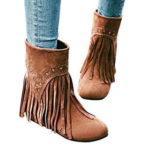 bloatboy Damen Stiefel 👠👠 - Mode Erhöhte kurze Stiefel lässige Stiefel mit Fransen Herbst und Winter Vintage Stiefel