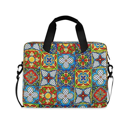 HMZXZ Mexican Talavera Ceramic Tile Muster Laptoptasche 13 14 15.6 Zoll Laptop Tasche Aktentasche Hülle Notebooktasche Schulter Tasche Handtasche für Arbeit Business Uni