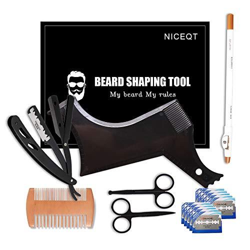 Beard Shaper - Beard Shaping Tools - Include Beard Template Guide, Professional Straight Edge Razor, 10 Count of Double Edge Blade, Barber Pencil, Beard Comb, 2 Stainless Steel Scissors