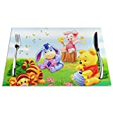 Wi_Nnie The Pooh Placemats for Dining Table Set of 6 Heat Insulation Stain Resistant Placemats Durable Cross Weave Woven Kitchen Table Mats Placemat