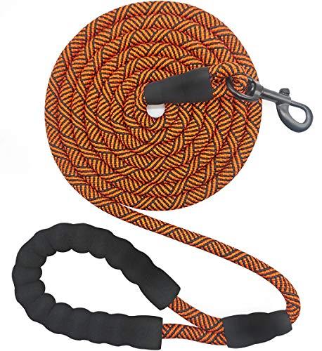Mycicy 3 m Lange Hundeleine mit bequemem, gepolstertem Griff, Starke Hundeleine für mittelgroße und große Hunde, zum Spazierengehen, Training, Wandern (1,2 cm x 3 m, Schwarz/Orange)