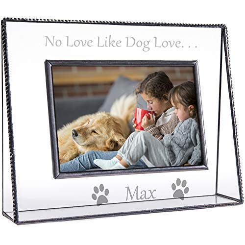 J Devlin Pic 319-46H EP592 Personalized Dog Picture Frame Engraved Clear Glass Tabletop 4 x 6 Horizontal Pet Photo Keepsake