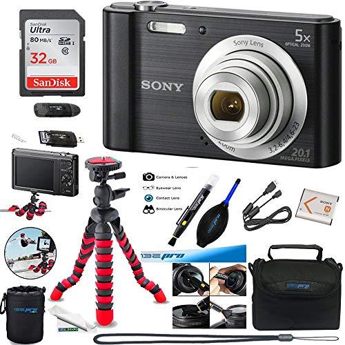 Sony W800 (Black) + 32GB Memory Card + Expo-Basic Accessory Bundle