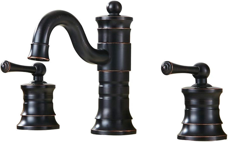 Denocel Bathroom Sink Taps Vintage Mixing Faucet 3 Holes 360° redatable Double Handle Faucet Sink Basin Faucet Pull-Out Brass Mixer Black