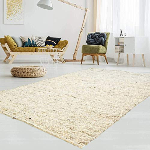 T.Carpet Gewalkter Handweb-Teppich Lambrecht aus hochwertiger Schurwolle edel und aufwendig verarbeitet fürs Wohnzimmer, Eszimmer, Schlafzimmer und die Küche geeignet 60 Beige meliert Muster