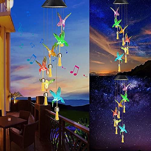 Achort LED Solar Windspiel Windspiel Solar Transparenter Kolibris Windspiele Draußen/Innendekoration Hofdekorationen Wasserdicht für Terrasse Garten Party Baum Geburtstag Weihnachts Geschenk für Mama