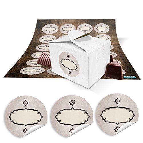 24 kleine witte geschenkdozen geschenkverpakking geschenkdozen 8 x 6,5 x 5,5 + ronde stickers vintage kraftpapier etiket ovaal bruin, verpakking voor cadeautjes of knutselen voor adventskalender