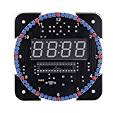S erounder DIY Electronic Clock Kit, Multi-Function Light Control Rotation Digital LED Temperature & Time Display Tool Set with Installation Accessories(Green)