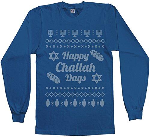 Threadrock Men's Happy Challah Days Ugly Sweater Long Sleeve T-Shirt 3XL Royal Blue