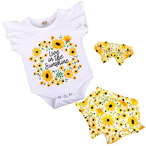 Texbee Kleinkind Baby Mädchen Shorts Set Baumwolle Strampler Rüschen Tops Blumen Shorts Sommer Outfits Süße Baby Kleidung Mädchen 0-18M (White Sunflower, 0-3M)