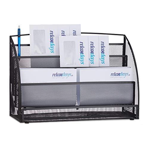 Relaxdays Magazinständer Metall, groß, 4 Fächer, Zeitungsständer, für Büro, Tischablage, HBT: 30 x 45 x 18 cm, schwarz Magazinhalter Metallgeflecht, 18 x 45 x 30 cm