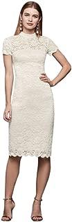 Mock-Neck Illusion Lace Short Dress Style 650133