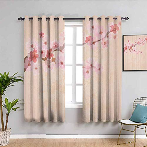Japanese Decor Bedroom Decor Blackout Shades Pink Cherry Blossoms on Branch Vintage Textured Flourishing Romantic Season Art Picture Cafe Curtain Soft Pink W63 x L63 Inch