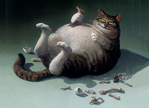 Postkarte A6 • 5347 ''Brunch'' von Inkognito • Künstler: Michael Sowa • Satire • Fantastik • Katzen