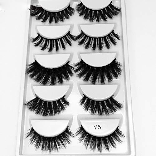 5 Paires de Faux Cils naturel 3D noir longs et entrecroisés Multipack Faux Cils Faits à La Main Pure Réutilisable Extension pour Maquillage regard envoûtant Application facile # 06
