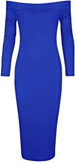 Ladies Jersey Long Sleeve Bardot Off Shoulder Midi Bodycon Dress US Size 4-22