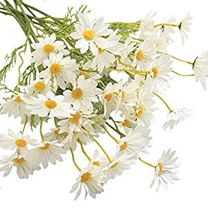5PC Simulation Flower Small Daisy Ornament Fake Chrysanthemum Branch Cosmos Decoration Props Artificial Flower Home Bridal Wedding Hotel Office Party Garden Centerpieces Decor (White)