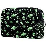 Green Alien UFO Moon Makeup Bag Zipper Pouch Travel Cosmetic Organizer for Women and Girls