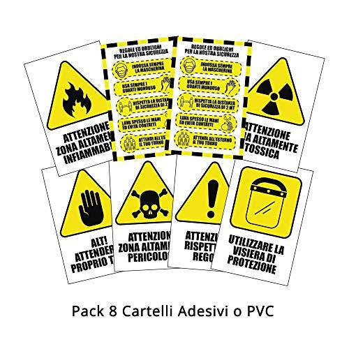Pack di 8 cartelli adesivi'covid security' - regole di sicurezza per cantieri - dimensione 13,5 x 20 cm (PVC)