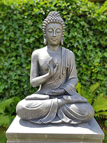 GerichteKeuze Buddha Statue | Buddha Abhayamudra | Höhe 74 cm | Antikes Silver| Deko-Artikel für Wohnung & Garten |