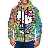 Hello Kitty - Sudadera con capucha para hombre con bolsillo frontal con estampado 3D y cordón para hombre S-XXL Negro Negro ( S