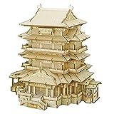 MOEGEN 3D Puzzle Madera Kit, Puzzle Cortado con Láser Juego de Construcción Mecánica - Regalo Creativo para Niños y Adultos (Tengwang Pavilion)