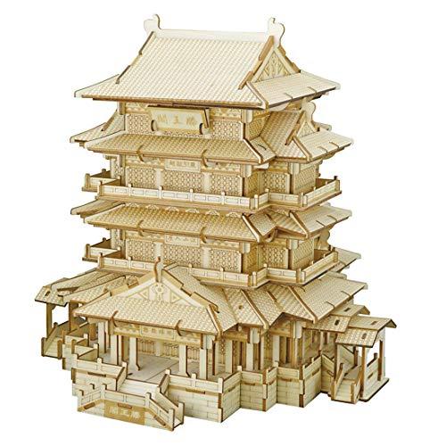 H0_V 3D Puzzle Tengwang Pavillon Architektur Holzpuzzle Denksport Modellbau Bausätze für Kinder Erwachsene DIY Puzzle Lernspielzeug , 303Teile