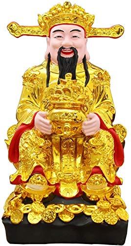 QULONG Regalo de Feng Shui Dios de la Fortuna CAI Estatua de Shen Artículos de decoración de Escritorio para el hogar Feng Shui Atrae la Riqueza y la Buena Suerte Decoración Regalo de Feng Shui Reg