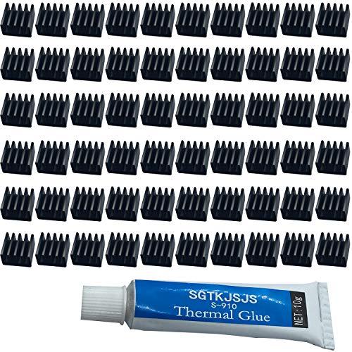 Mini-Heatsink-Set, Kühler, Kühlkörper, VRM Stepper Driver MOSFET VRam Regler (8,8 x 8,8 x 5 mm) schwarz