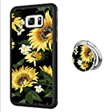 Samsung Galaxy S6 Edge Plus case Sunflower Full Body Case with Holder Ring Cover Slim Fit Heavy Duty Protection case Shockproof case Compatible with Samsung Galaxy S6 Edge Plus