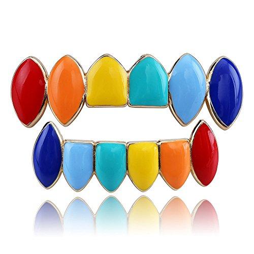 Beautop Mehrfarbige Zahngrill, Hüft-Zähne, Grillz-Kappen (obere kleinere Unterseite, Zahngitter, 1 Set für Männer/Frauen), gold, 5*1.5cm