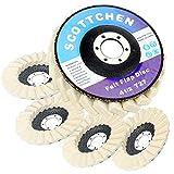SCOTTCHEN Felt Flap Disc Abrasives 4-1/2' x 7/8' Arbor Buffing Polishing Wheel for Angle Grinder - 5 Pack