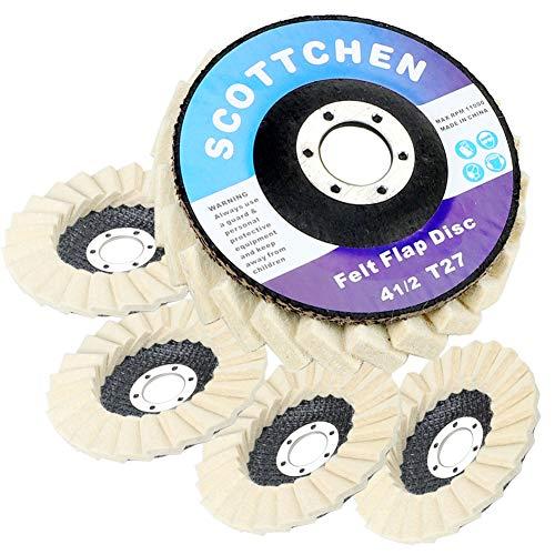 "SCOTTCHEN Felt Flap Disc Abrasives 4-1/2"" x 7/8"" Arbor Buffing Polishing Wheel for Angle Grinder - 5 Pack"