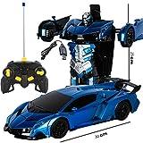 JUJIAJU Bumblebee Rambo Voiture télécommandée en 1 clic Déformation Télécommande Robot de déformation Robot King Kong Geste Induction Déformation Voiture Jouet (Color : Dark Blue)