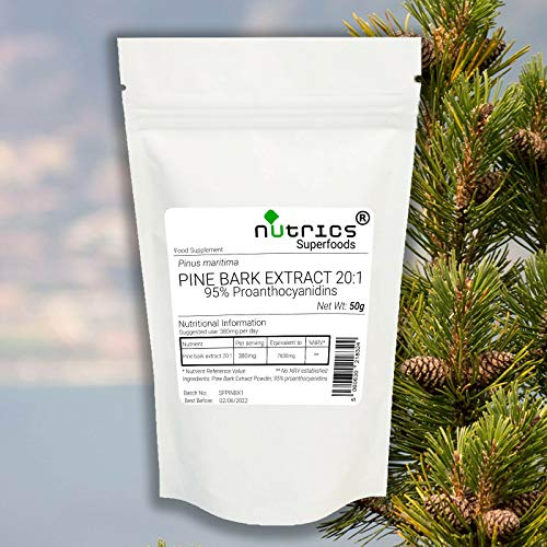 Nutrics 20:1 Pine BARK Extract Pure Powder 95% proanthocyanidins 50g