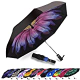 Umbrella Windproof, Siepasa Travel Umbrella, Compact Folding Reverse Umbrella,-One button for Auto Open and Close (Glaze Flower)