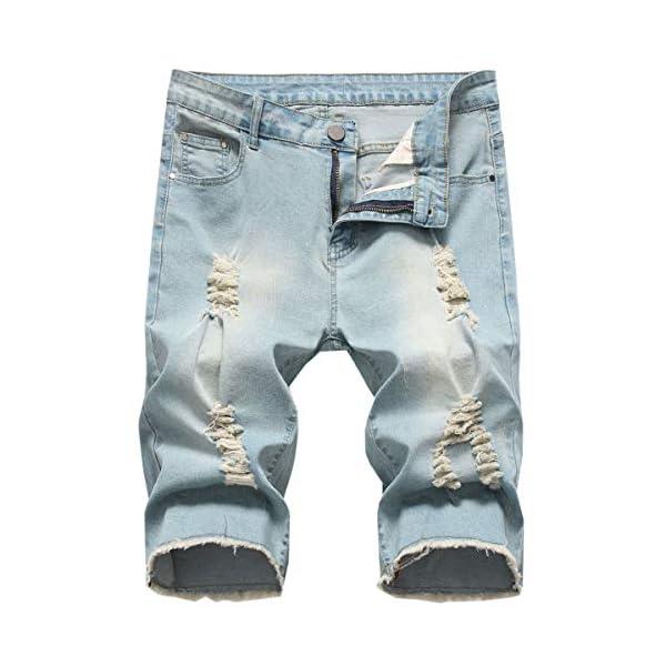 QZH.DUAO Mens Ripped Denim Shorts with Holes