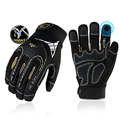 Vgo 1-Pair Heavy-Duty Synthetic Leather Work Gloves, Impact Protection Mechanic Gloves, Rigger Gloves, High Dexterity, Vibration Reduction, Touchscreen Capable (Size M, Black, SL8849)