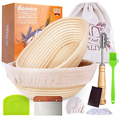 HIRALIY Oval Bread Proofing Basket Set