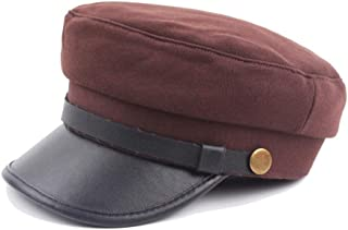 HAOHAO Fashion Leisure Metal Buckle Square Colour Wool Cap Beret Cap Flat Hat Autumn Winter Warm Sunshade Military Cap Street Style Beret (Color : Coffee, Size : 56-58CM)