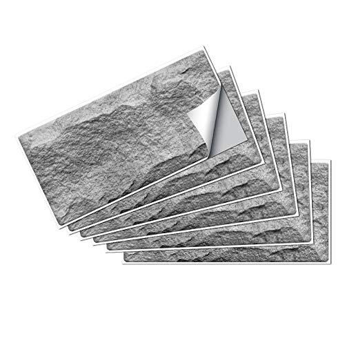 Hiser Adhesivos Decorativos para Azulejos Pegatinas para Baldosas del Baño/Cocina Serie de Piedra Vintage Resistente al Agua Pegatina de Pared - 15x30cm (Pegmatita Gris,6 Piezas)