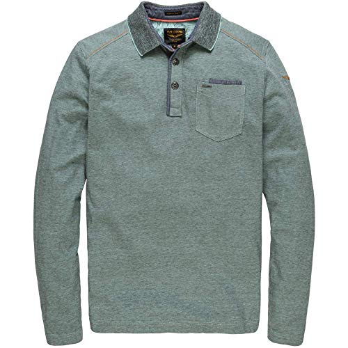 PME Legend Long Sleeve Polo Yarn Dyed Fine Stripe - Polopullover, Größe_Bekleidung:XXL, Farbe:Pastel Turquoise