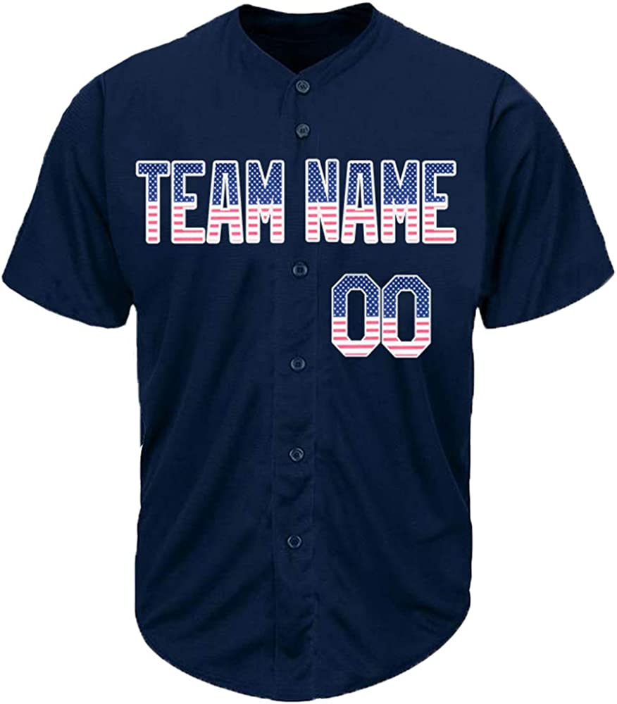 DEHUI Custom In a popularity Branded goods Men Women Navy Embroidere Cool Baseball Jersey with
